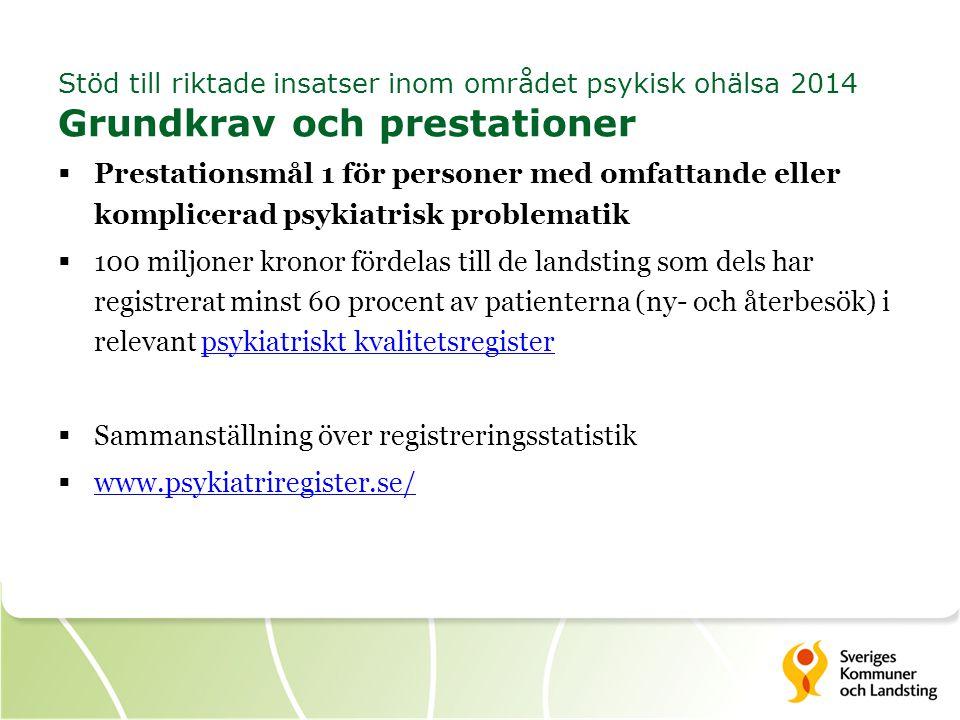 Sammanställning över registreringsstatistik www.psykiatriregister.se/