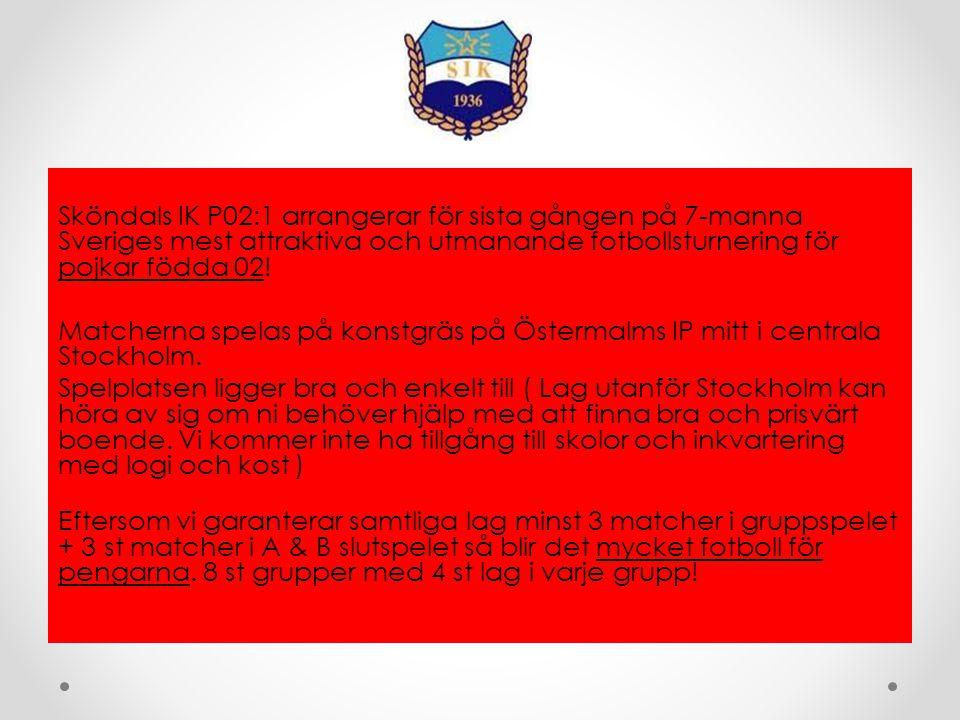 Sköndals IK P02:1 arrangerar för sista gången på 7-manna Sveriges mest attraktiva och utmanande fotbollsturnering för pojkar födda 02.