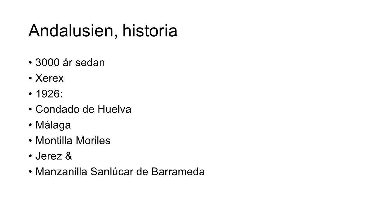 Andalusien, historia 3000 år sedan Xerex 1926: Condado de Huelva