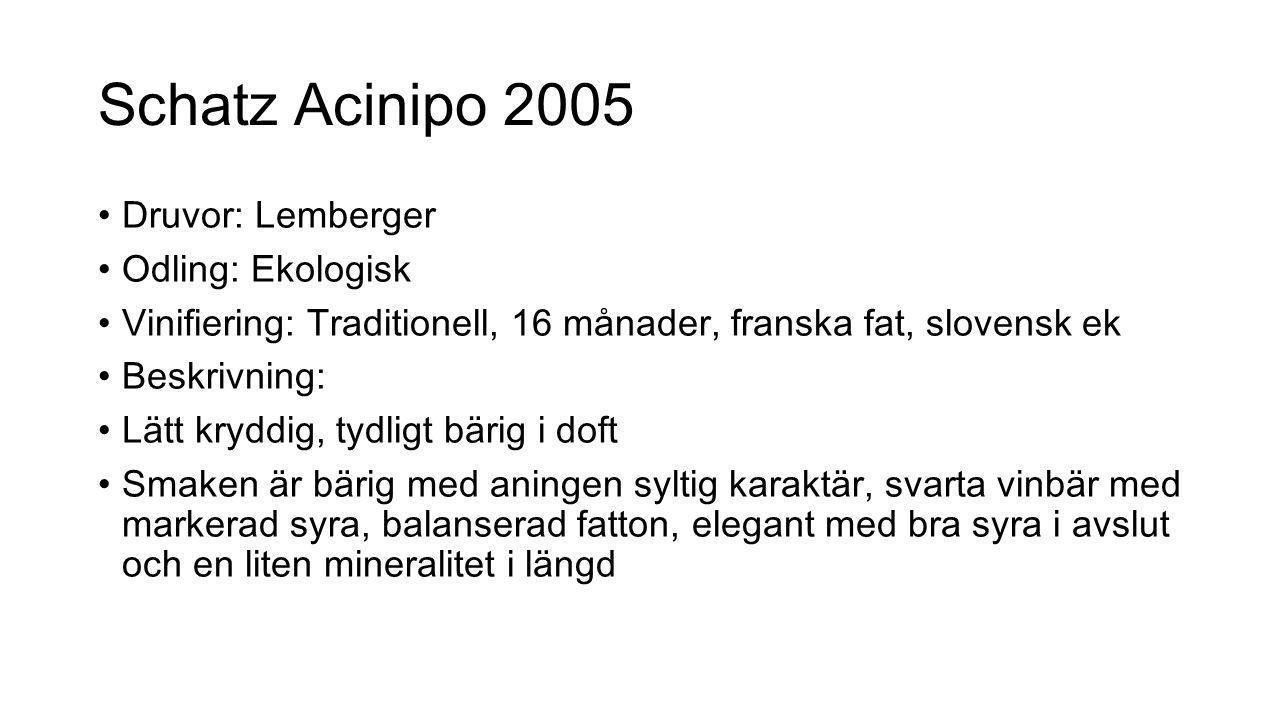 Schatz Acinipo 2005 Druvor: Lemberger Odling: Ekologisk