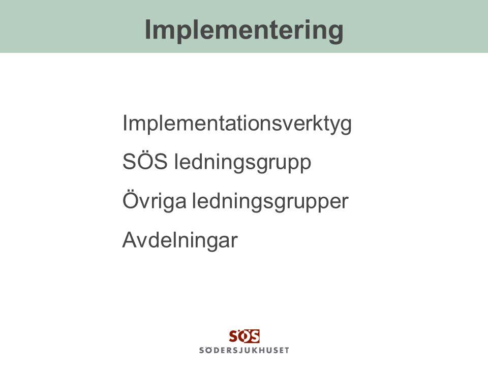 Implementering Implementationsverktyg SÖS ledningsgrupp