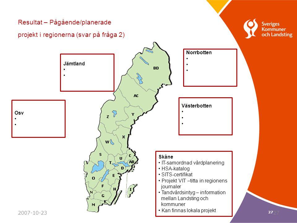 Resultat – Pågående/planerade projekt i regionerna (svar på fråga 2)