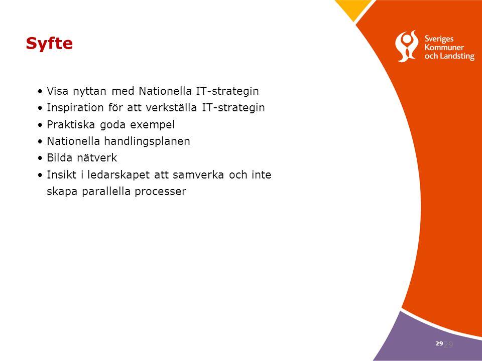 Syfte Visa nyttan med Nationella IT-strategin