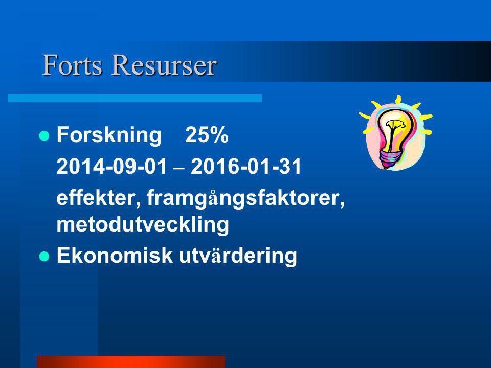Forts Resurser Forskning 25% 2014-09-01 – 2016-01-31