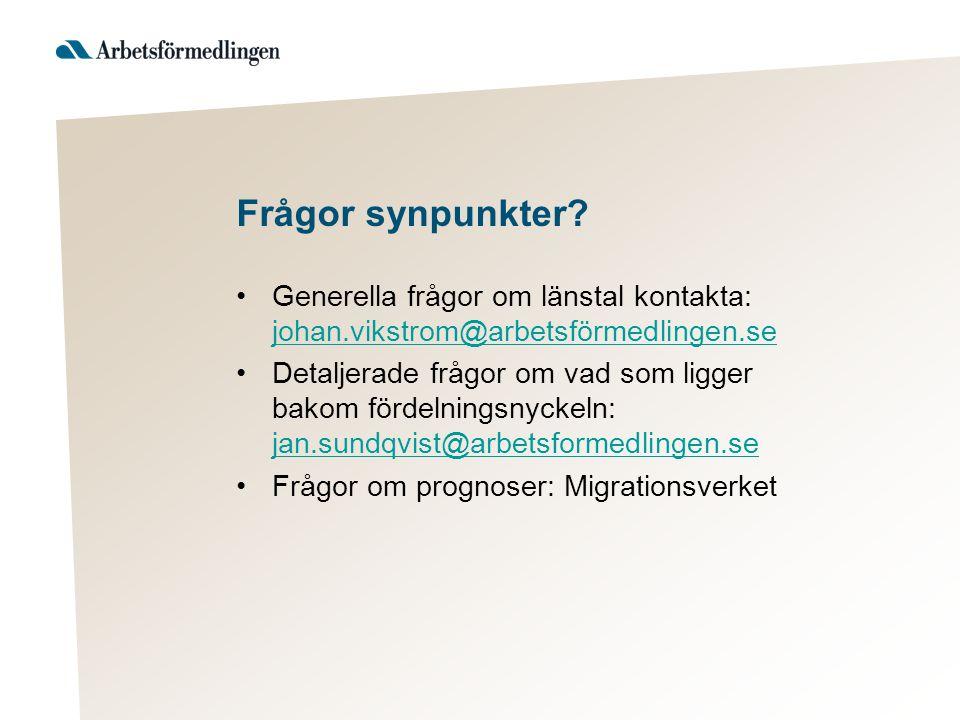 Frågor synpunkter Generella frågor om länstal kontakta: johan.vikstrom@arbetsförmedlingen.se.
