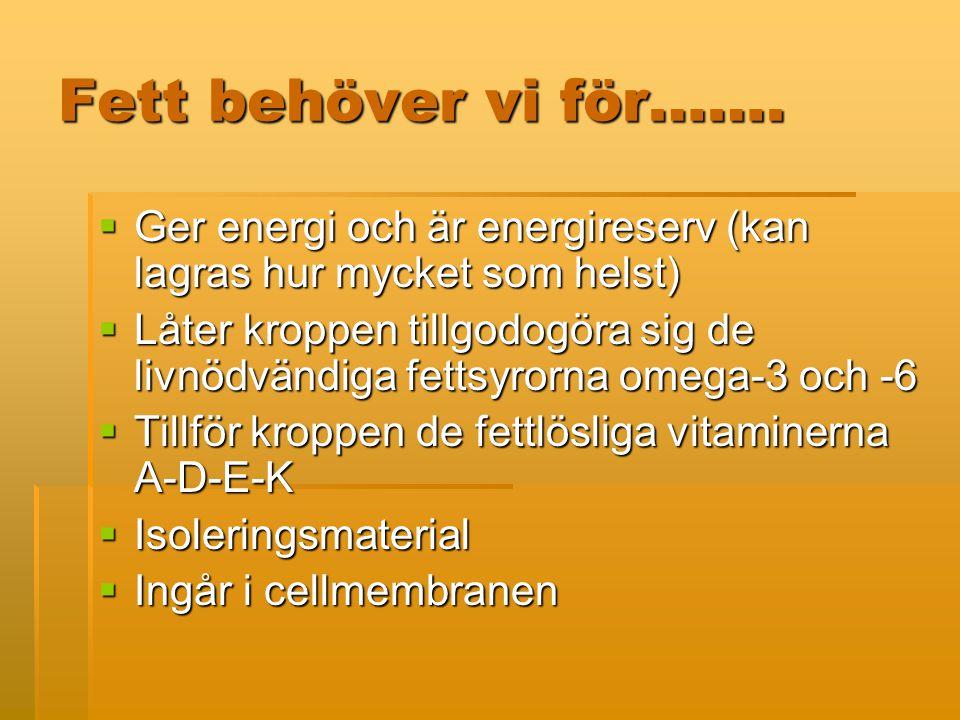Fett behöver vi för……. Ger energi och är energireserv (kan lagras hur mycket som helst)