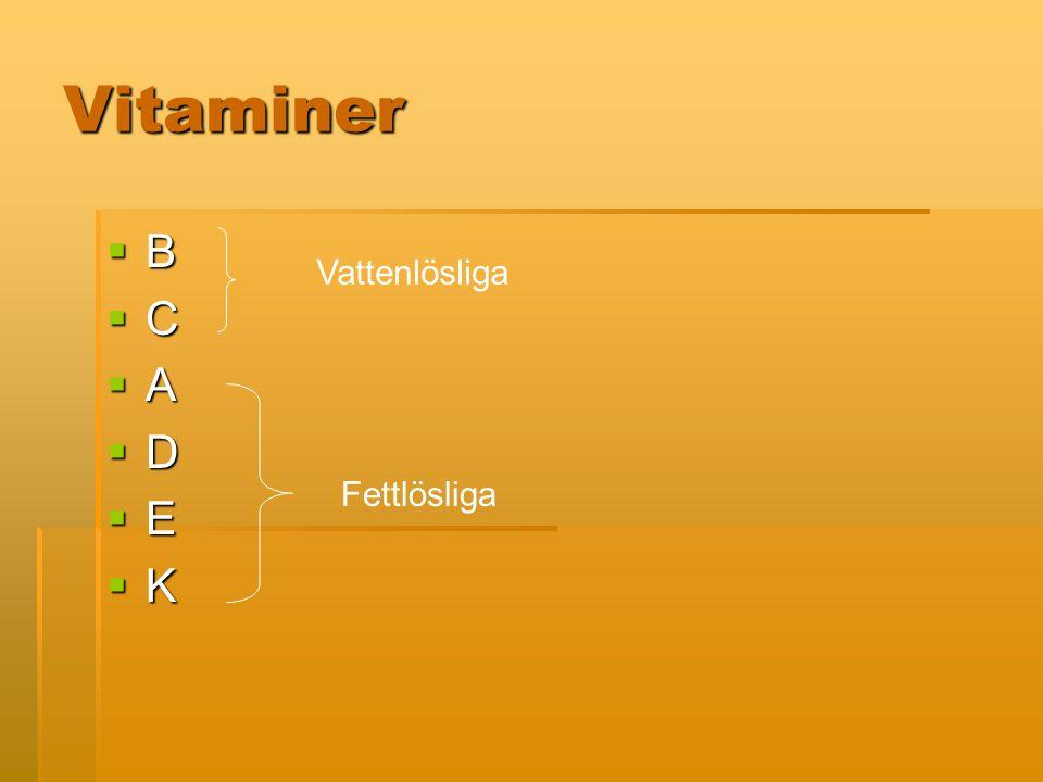 Vitaminer B C A D E K Vattenlösliga Fettlösliga
