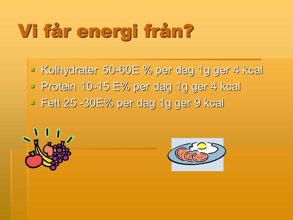 Vi får energi från Kolhydrater 50-60E % per dag 1g ger 4 kcal