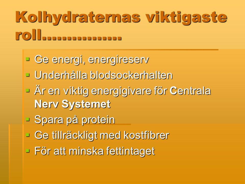Kolhydraternas viktigaste roll…………….