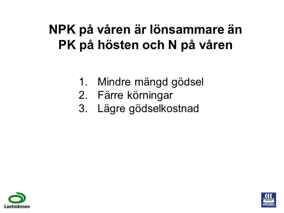 NPK på våren är lönsammare än PK på hösten och N på våren