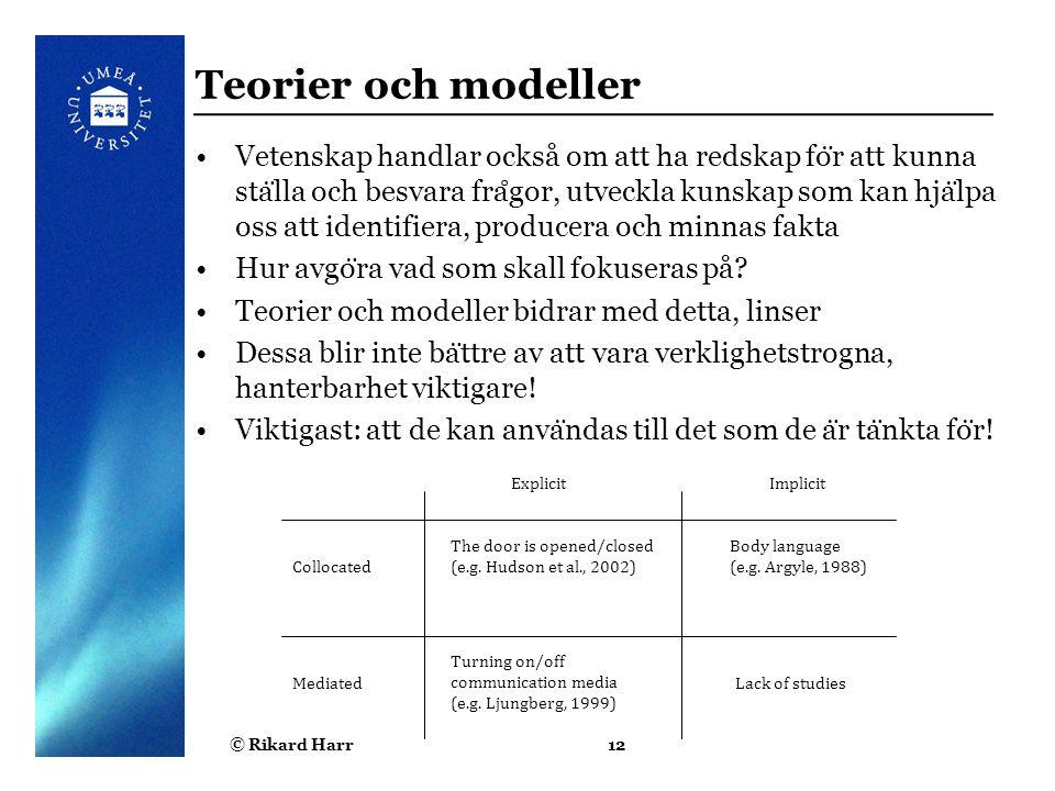 Teorier och modeller