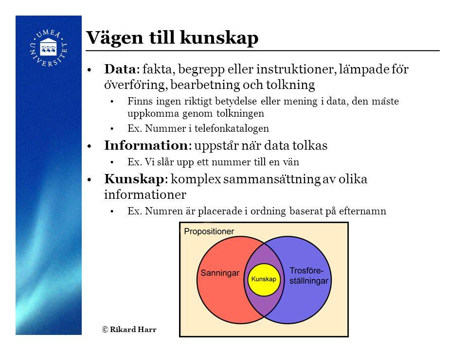 Vägen till kunskap Data: fakta, begrepp eller instruktioner, lämpade för överföring, bearbetning och tolkning.