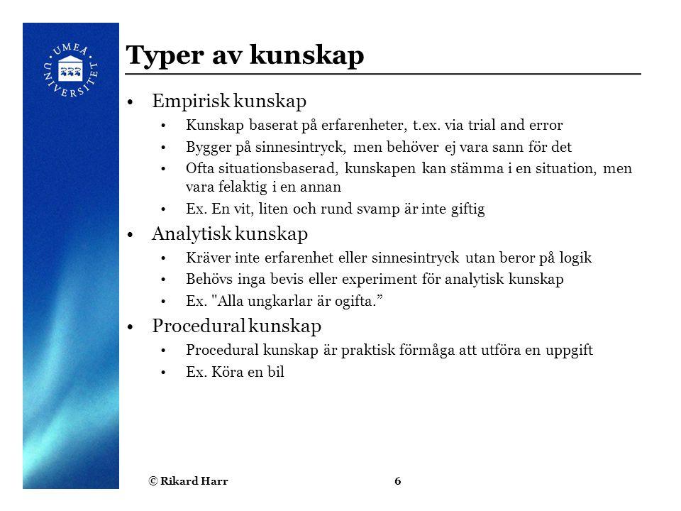 Typer av kunskap Empirisk kunskap Analytisk kunskap Procedural kunskap