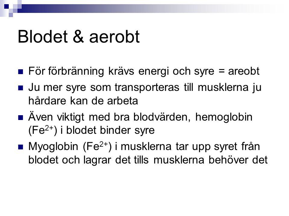 Blodet & aerobt För förbränning krävs energi och syre = areobt