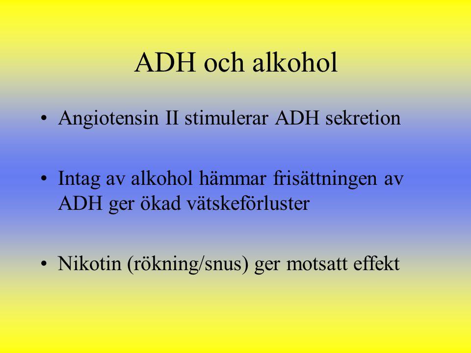 ADH och alkohol Angiotensin II stimulerar ADH sekretion