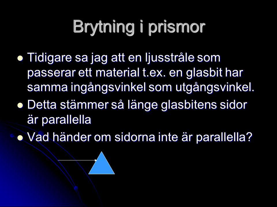 Brytning i prismor Tidigare sa jag att en ljusstråle som passerar ett material t.ex. en glasbit har samma ingångsvinkel som utgångsvinkel.