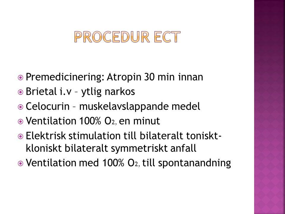 Procedur ECT Premedicinering: Atropin 30 min innan