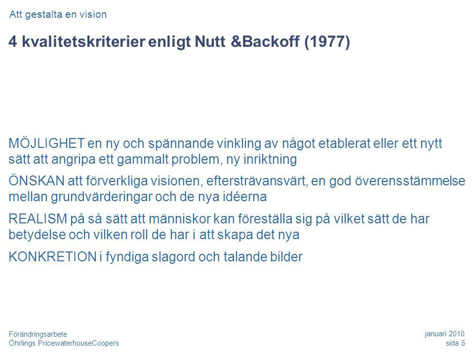 4 kvalitetskriterier enligt Nutt &Backoff (1977)