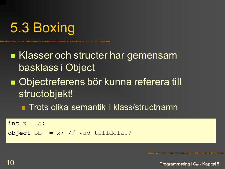5.3 Boxing Klasser och structer har gemensam basklass i Object