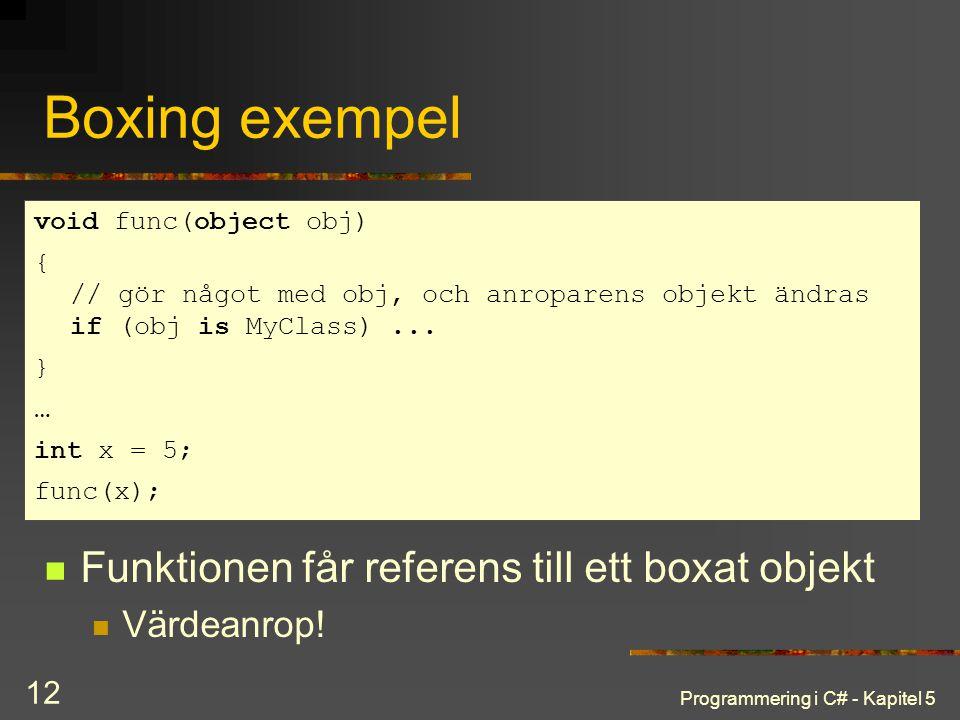 Boxing exempel Funktionen får referens till ett boxat objekt