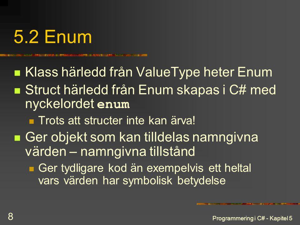 5.2 Enum Klass härledd från ValueType heter Enum