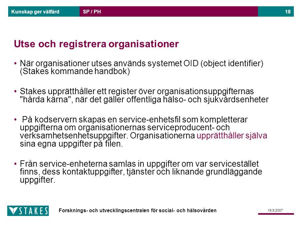 Utse och registrera organisationer