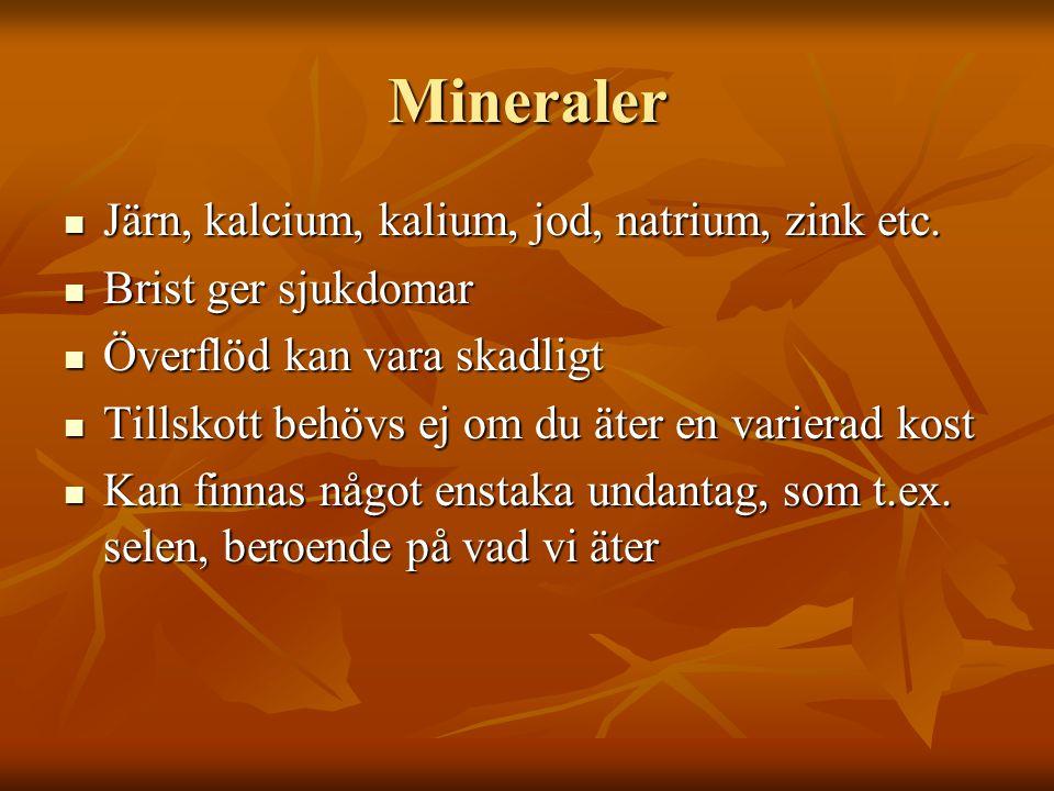 Mineraler Järn, kalcium, kalium, jod, natrium, zink etc.