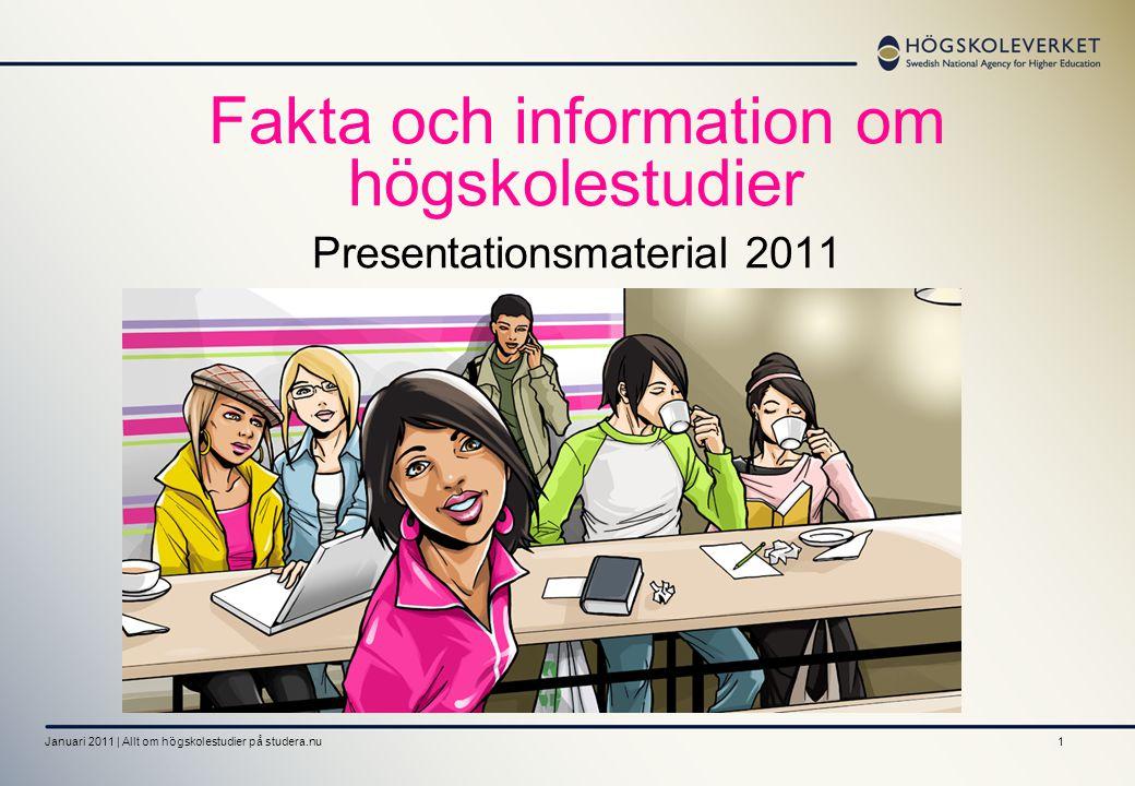 Fakta och information om högskolestudier Presentationsmaterial 2011