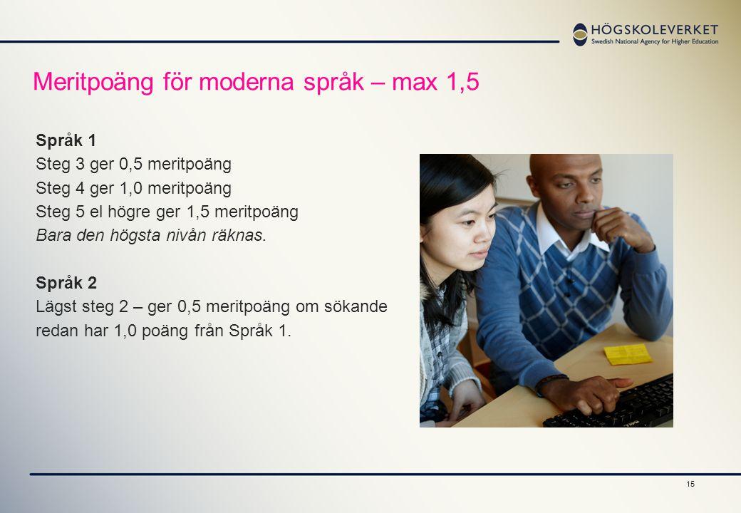 Meritpoäng för moderna språk – max 1,5