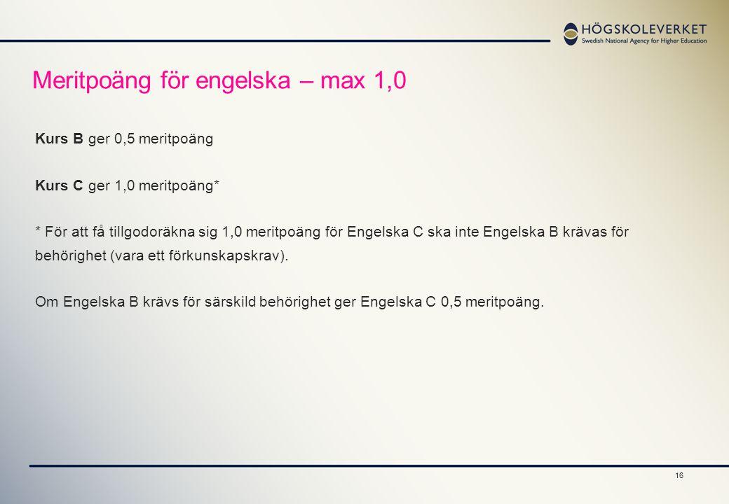 Meritpoäng för engelska – max 1,0
