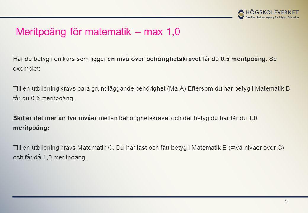 Meritpoäng för matematik – max 1,0