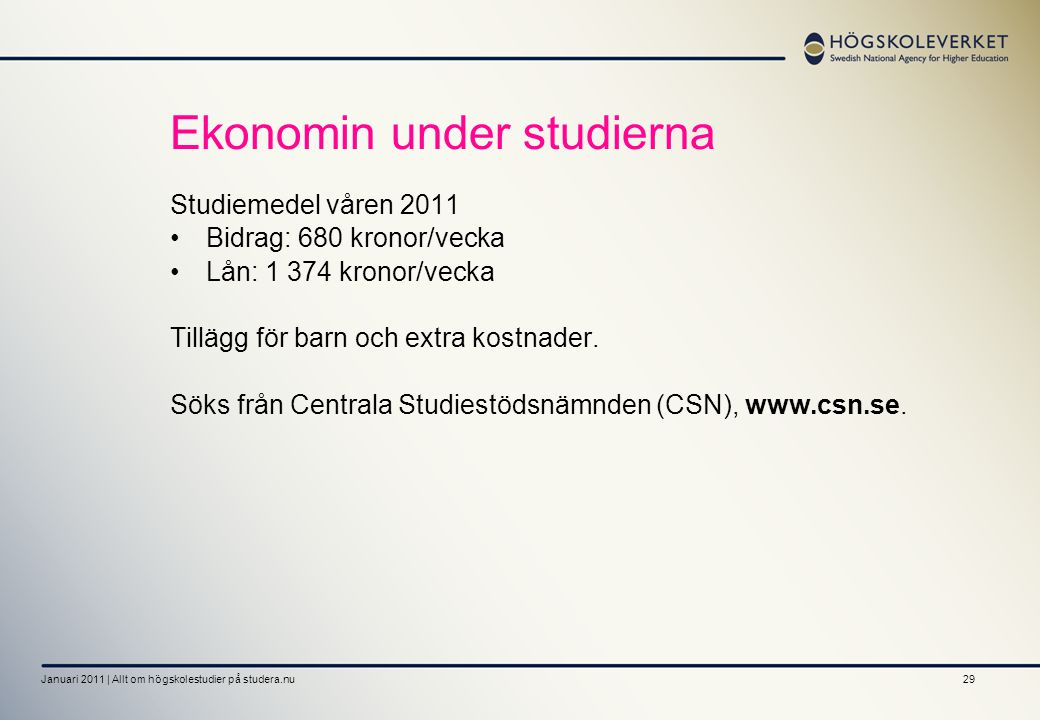 Ekonomin under studierna