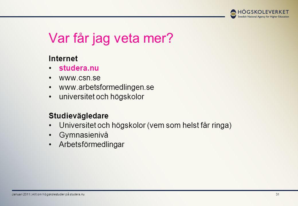 Var får jag veta mer Internet • studera.nu • www.csn.se