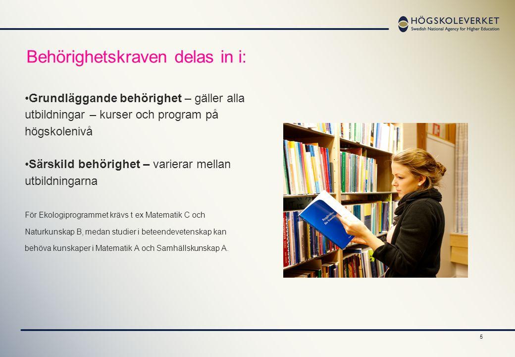 Behörighetskraven delas in i: