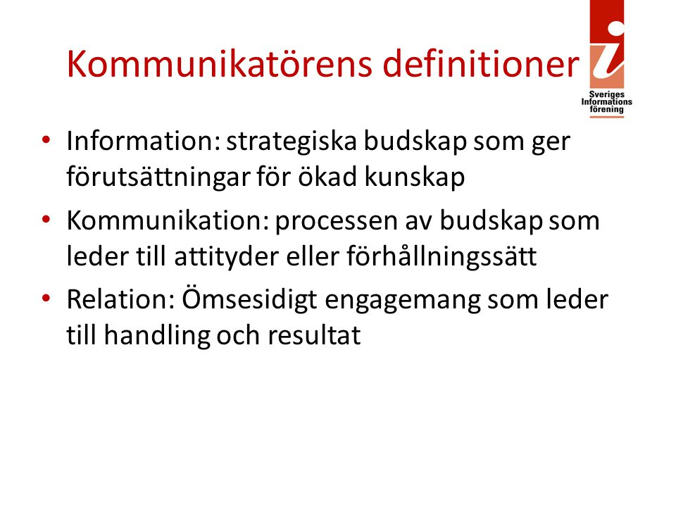 Kommunikatörens definitioner