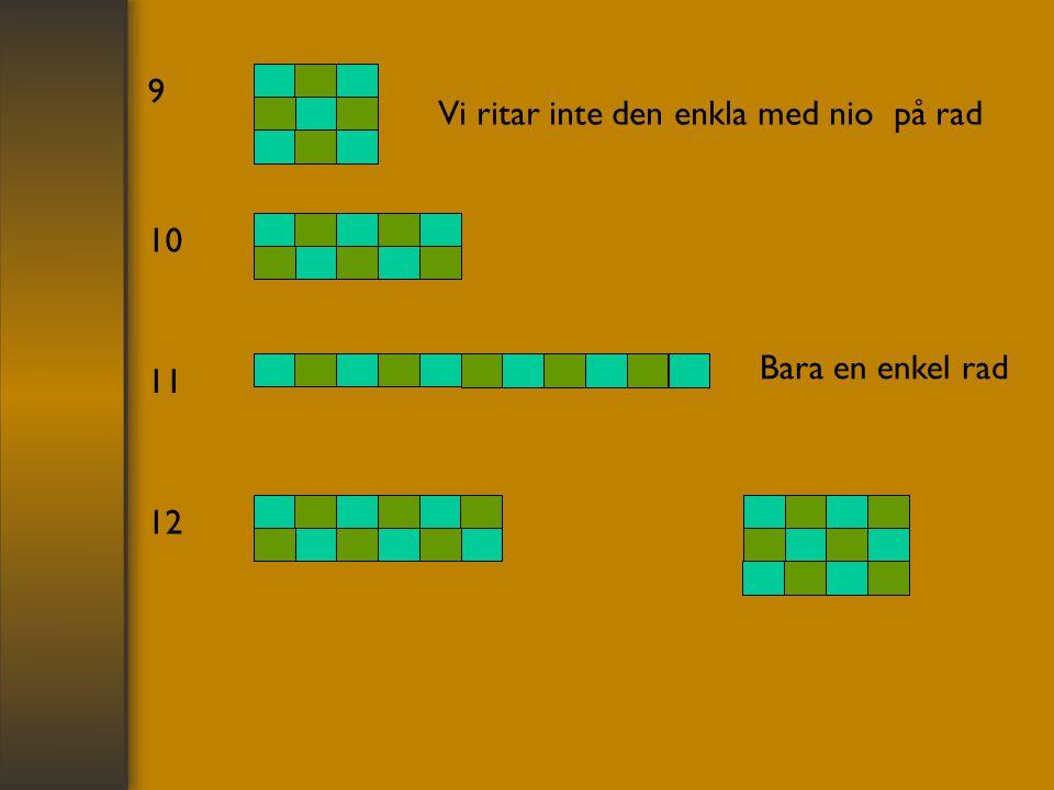 9 Vi ritar inte den enkla med nio på rad 10 Bara en enkel rad 11 12