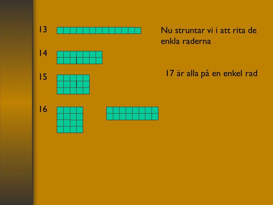 13 Nu struntar vi i att rita de enkla raderna 14 17 är alla på en enkel rad 15 16