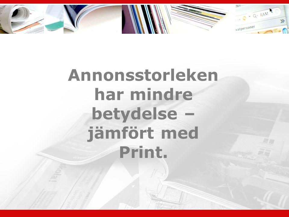 Annonsstorleken har mindre betydelse – jämfört med Print.
