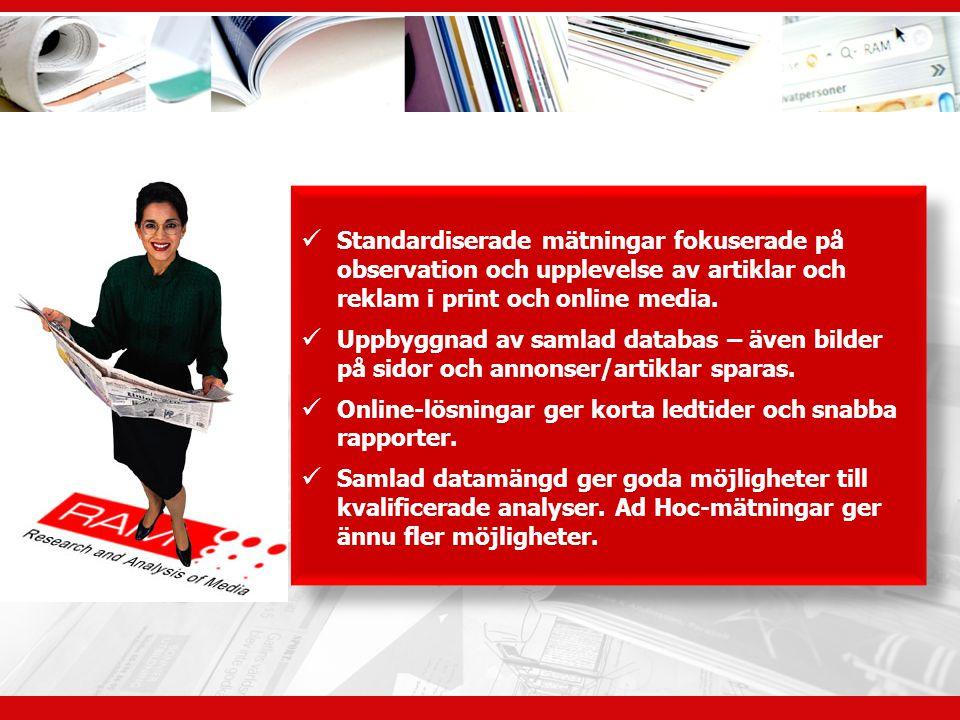 Standardiserade mätningar fokuserade på observation och upplevelse av artiklar och reklam i print och online media.