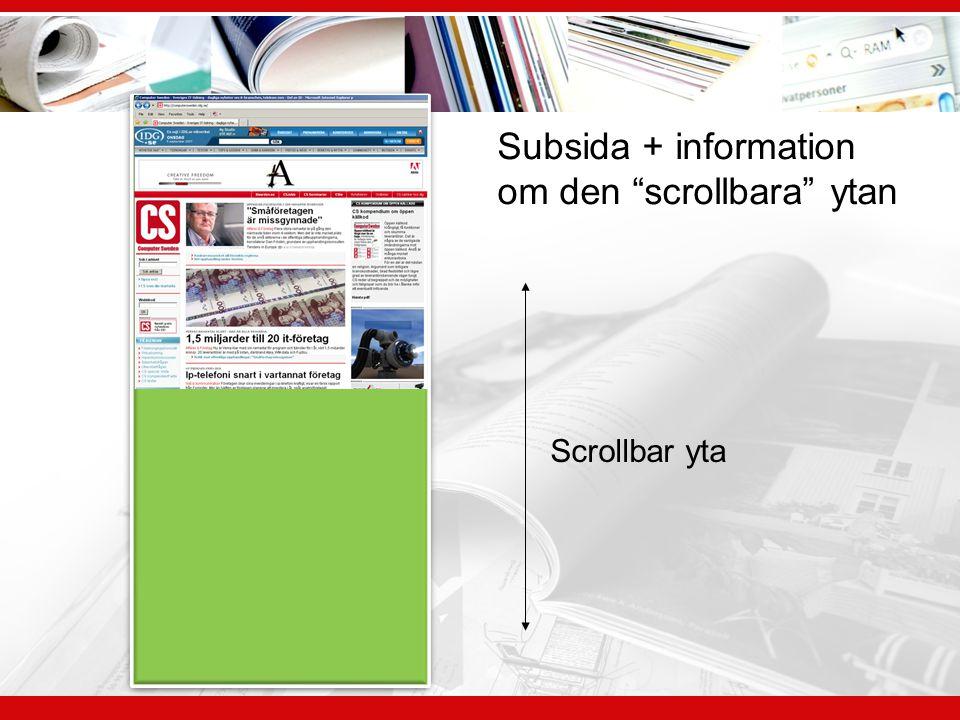 Subsida + information om den scrollbara ytan