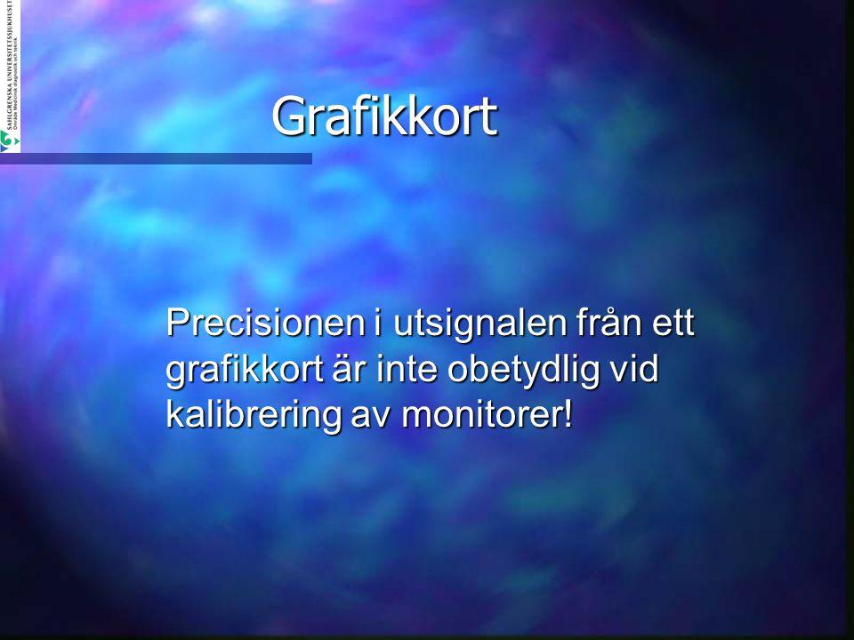 Grafikkort Precisionen i utsignalen från ett grafikkort är inte obetydlig vid kalibrering av monitorer!