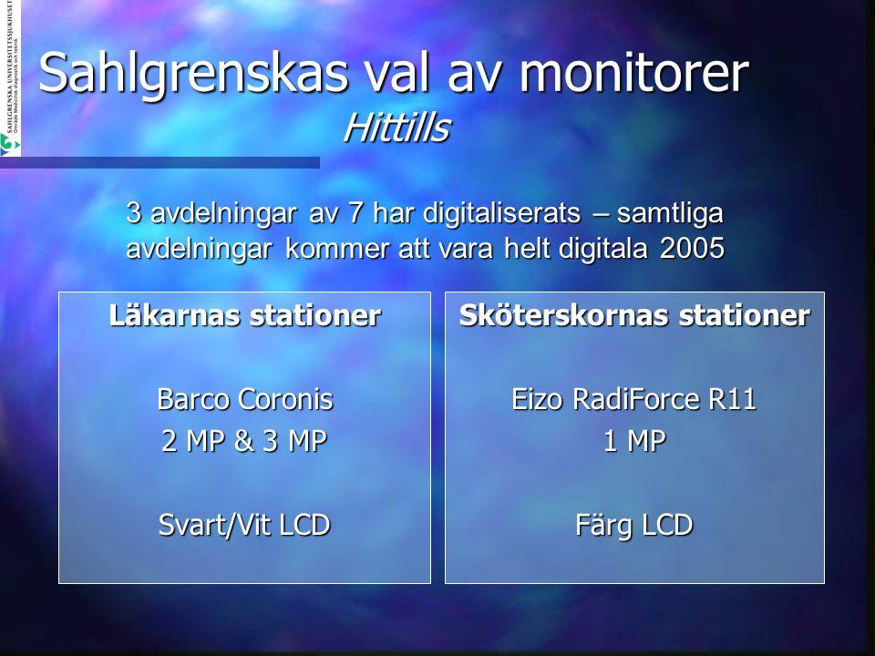 Sahlgrenskas val av monitorer Hittills