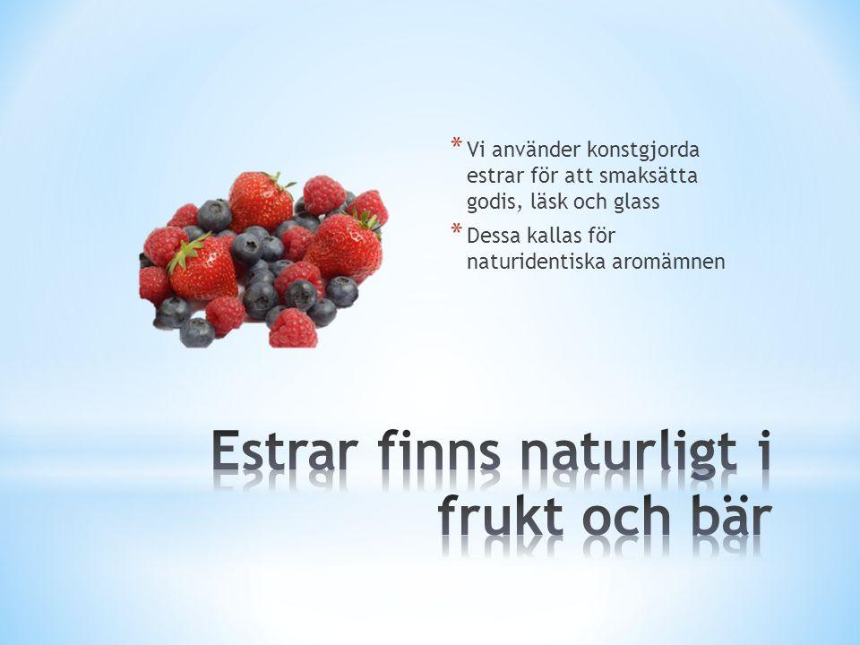 Estrar finns naturligt i frukt och bär