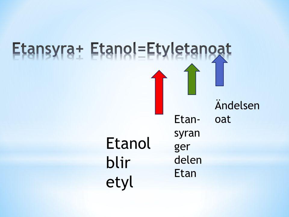 Etansyra+ Etanol=Etyletanoat