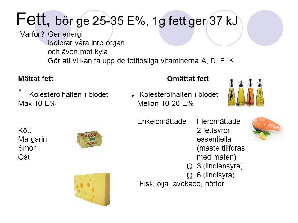 Fett, bör ge 25-35 E%, 1g fett ger 37 kJ