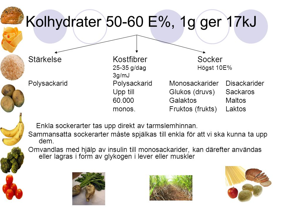 Kolhydrater 50-60 E%, 1g ger 17kJ