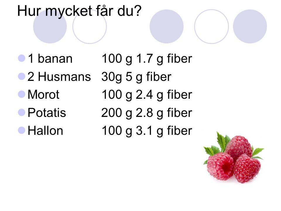Hur mycket får du 1 banan 100 g 1.7 g fiber 2 Husmans 30g 5 g fiber