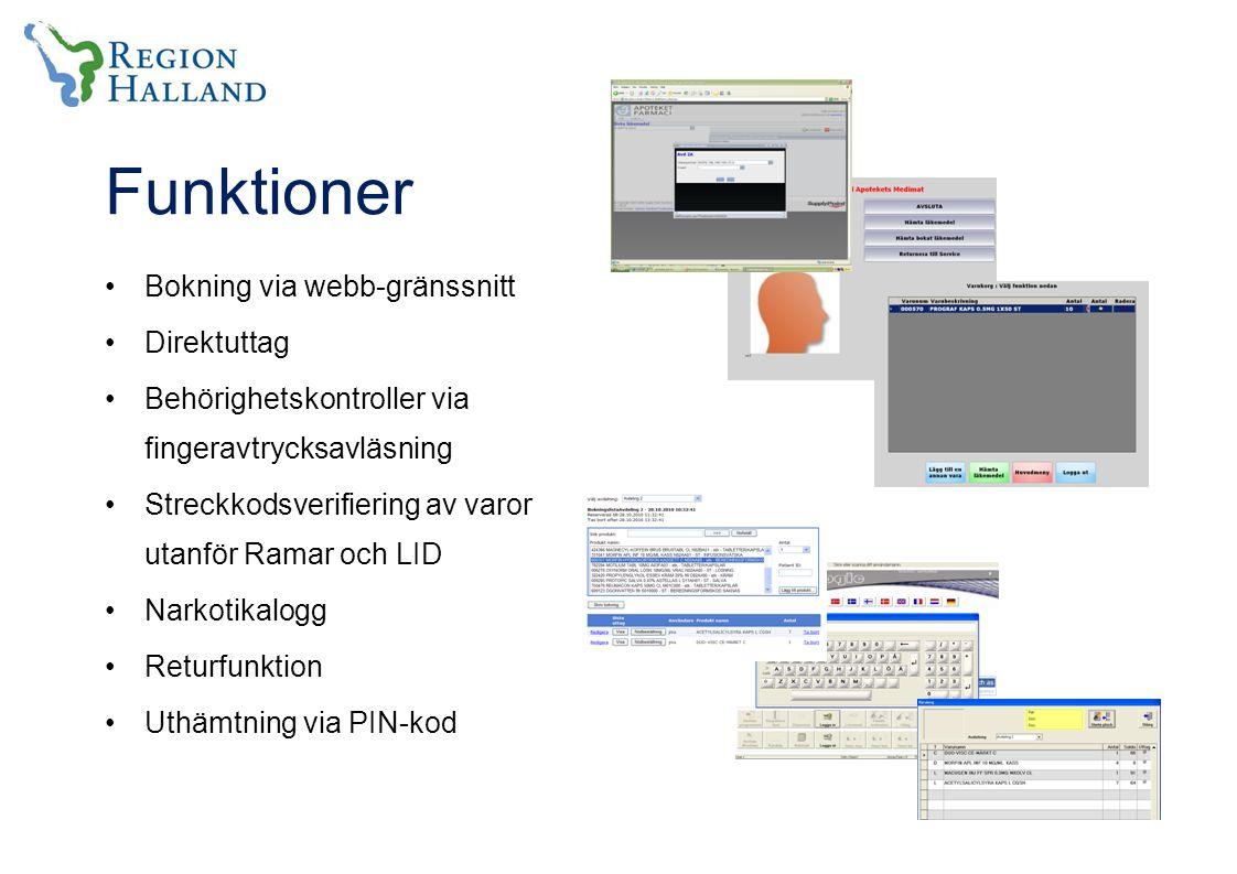 Funktioner Bokning via webb-gränssnitt Direktuttag