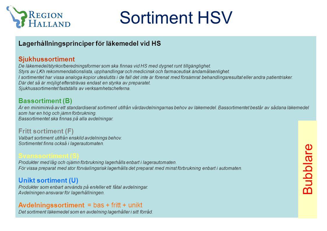 Sortiment HSV Bubblare Lagerhållningsprinciper för läkemedel vid HS