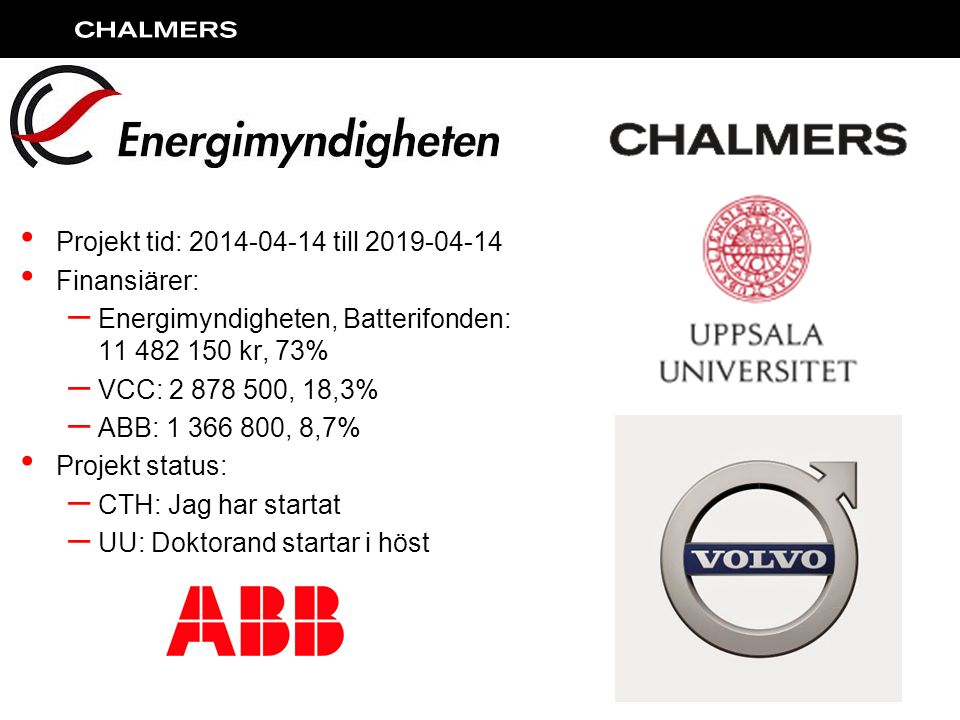Projekt tid: 2014-04-14 till 2019-04-14 Finansiärer: Energimyndigheten, Batterifonden: 11 482 150 kr, 73%